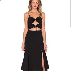 Revolve NBD Black Tie Me Down Midi Dress NWOT